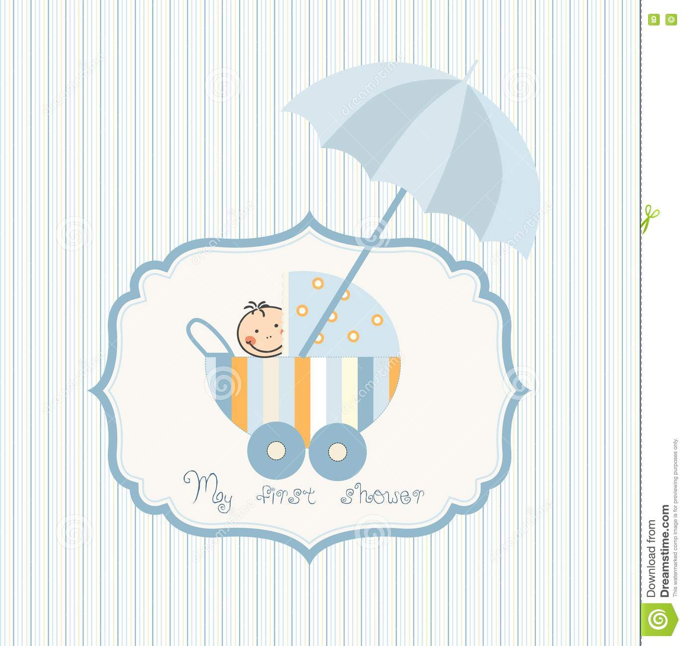 Stock photos baby shower card with carriage