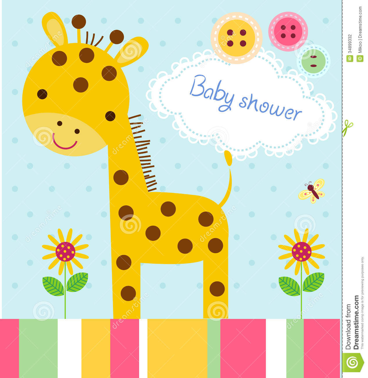 Baby Shower Card Stock Vector Illustration Of Greeting 34899332