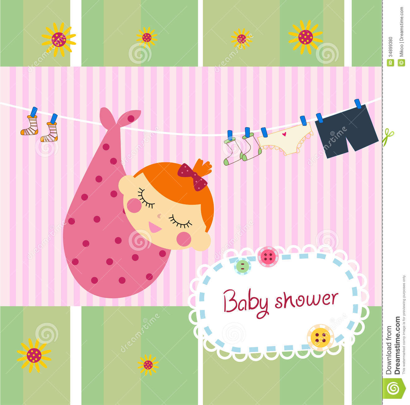 Baby Shower Card Stock Photo Image 34899380