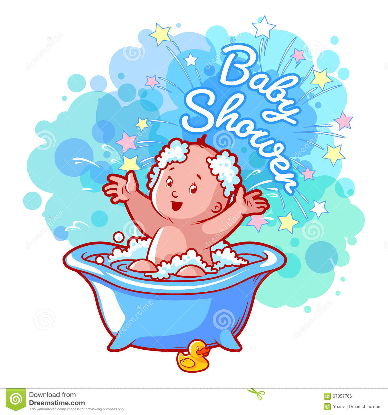 Baby Shower Card With Cute Baby Boy In Bath. Stock Vector ...