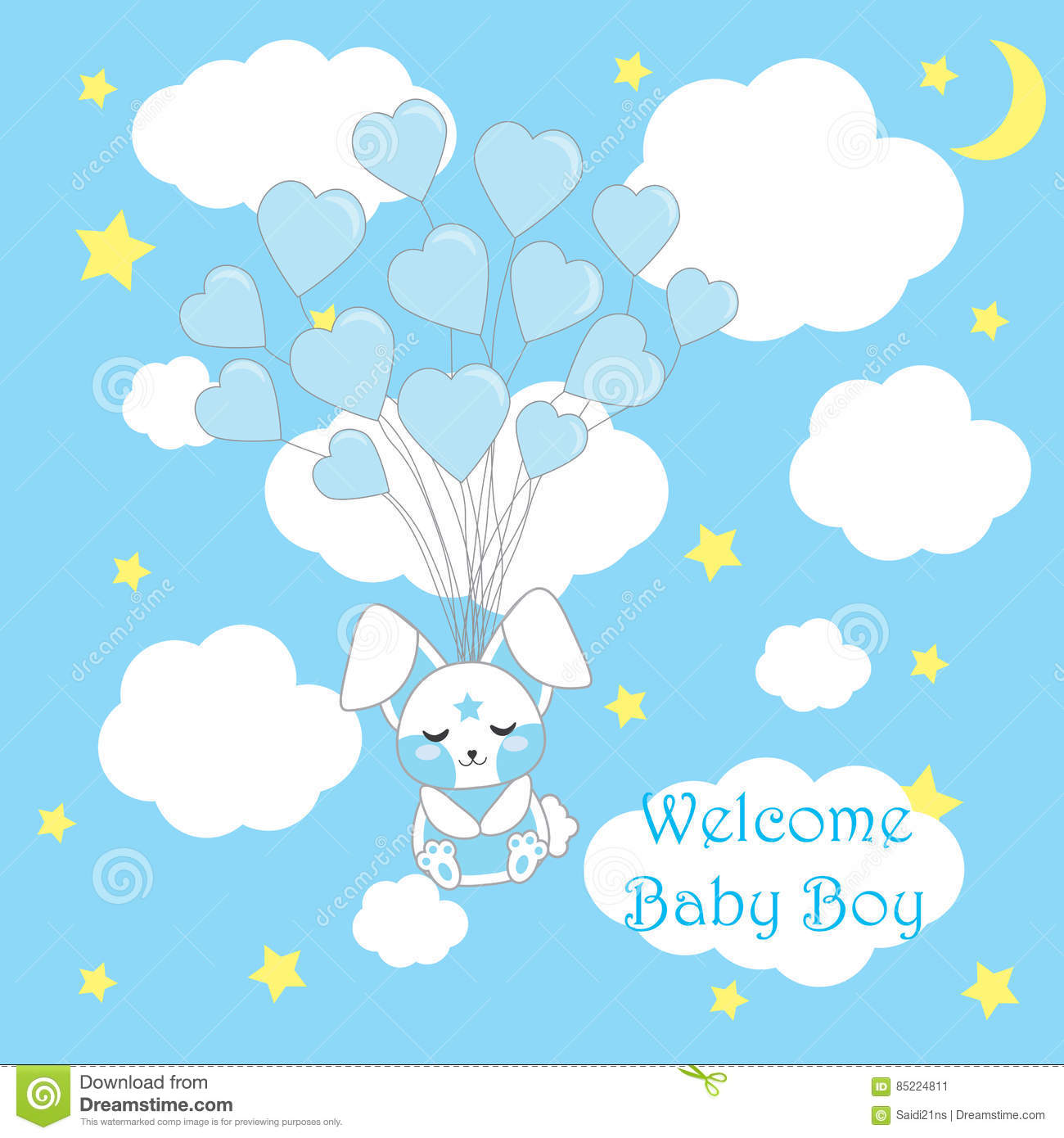 Baby shower card with cute baby rabbit fly with love balloons on blue background for baby boy nursery wall, vector cartoon.