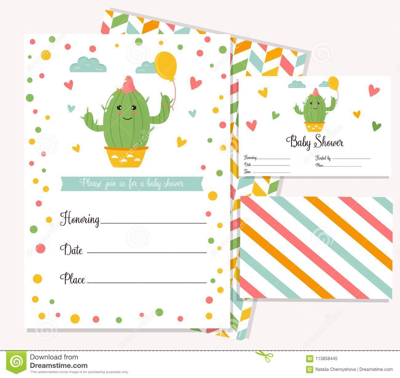 baby shower card with cute cactus stock vector illustration of