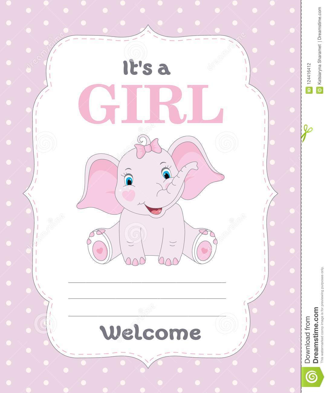 Baby Shower Card With Cute Elephant Its A Girl Stock Vector