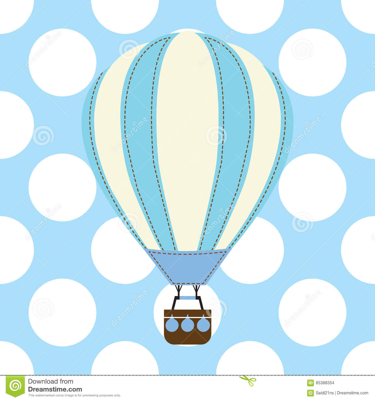 Baby shower card with cute hot air balloon on blue background