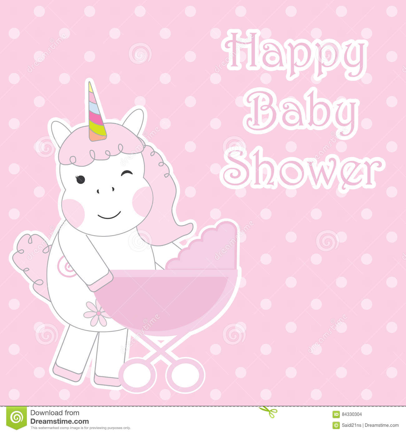 Baby Shower Card With Cute Unicorn Girl Brings And Baby Cart On Pink