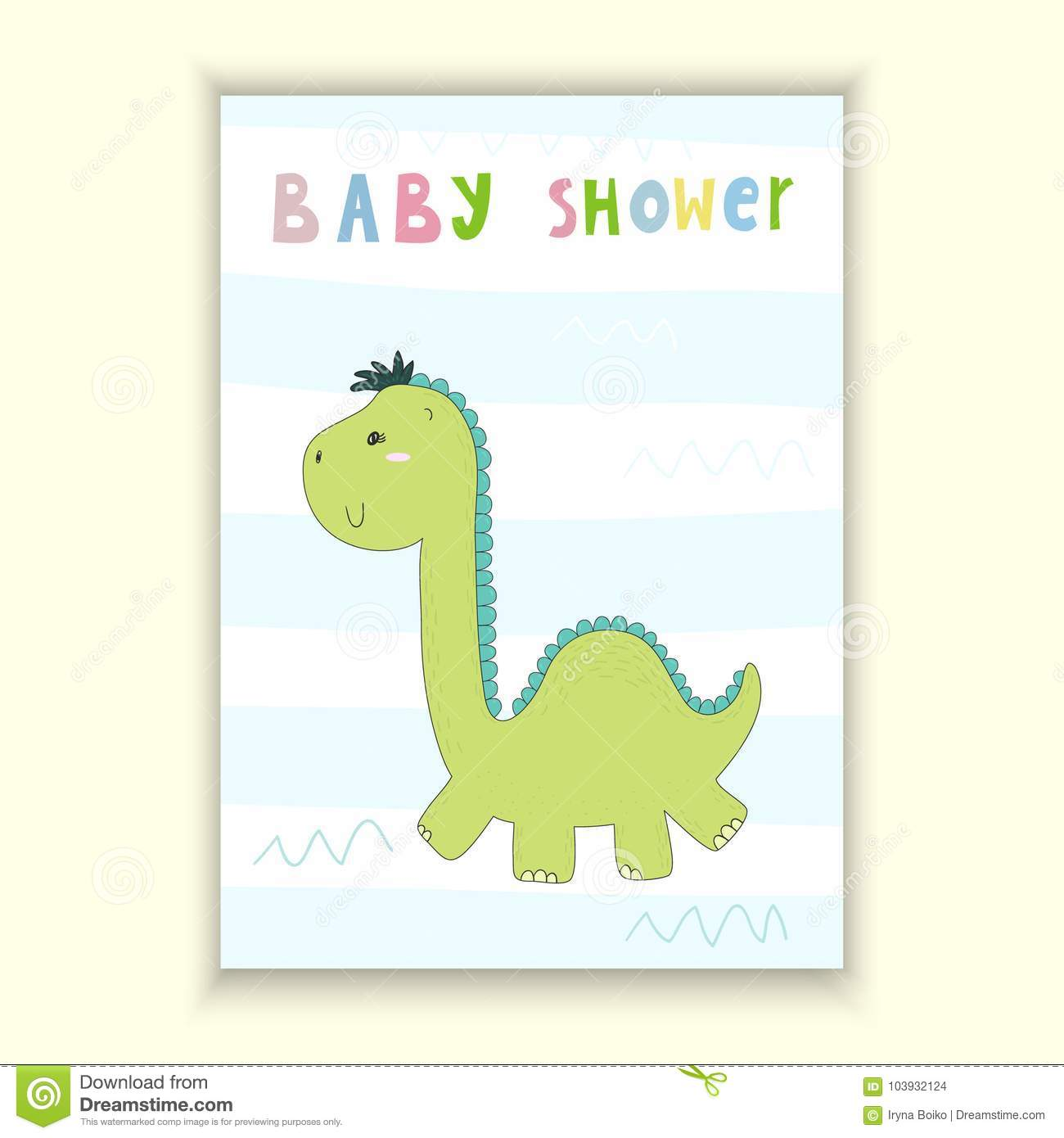 graphic about Baby Shower Card Printable called Youngster Shower Card Design and style. Adorable Hand Drawn Card With Dinosaur