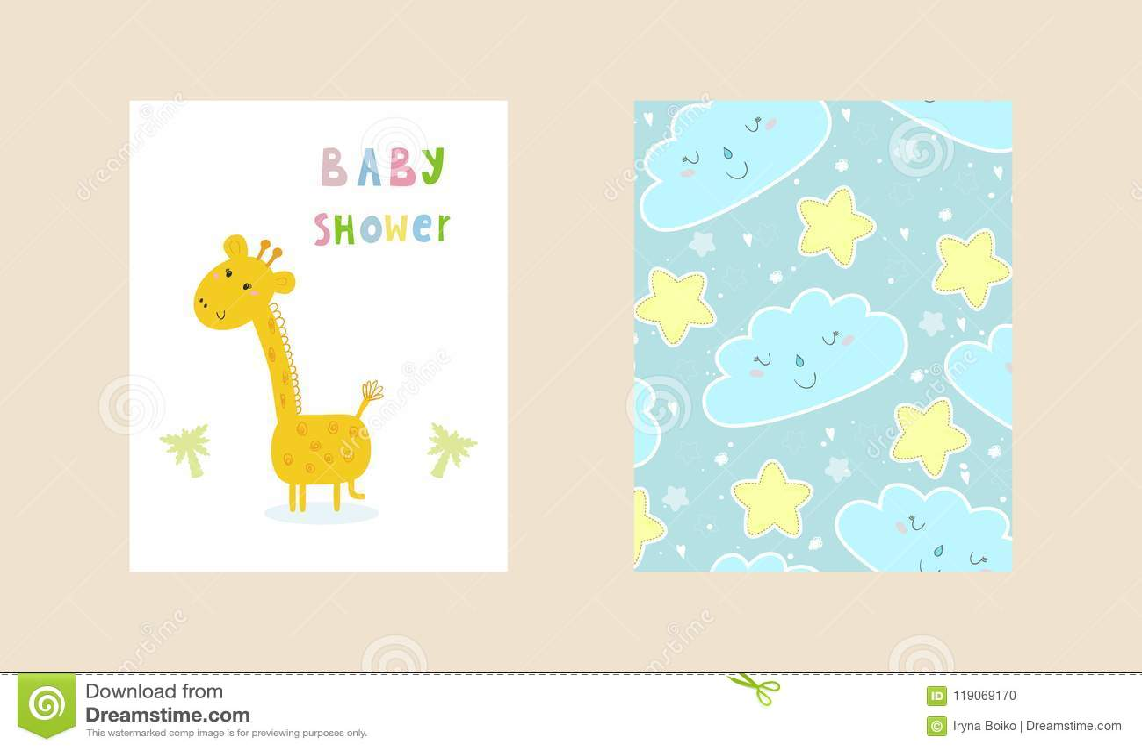 Baby Shower Card Design Cute Hand Drawn Card With Giraffe