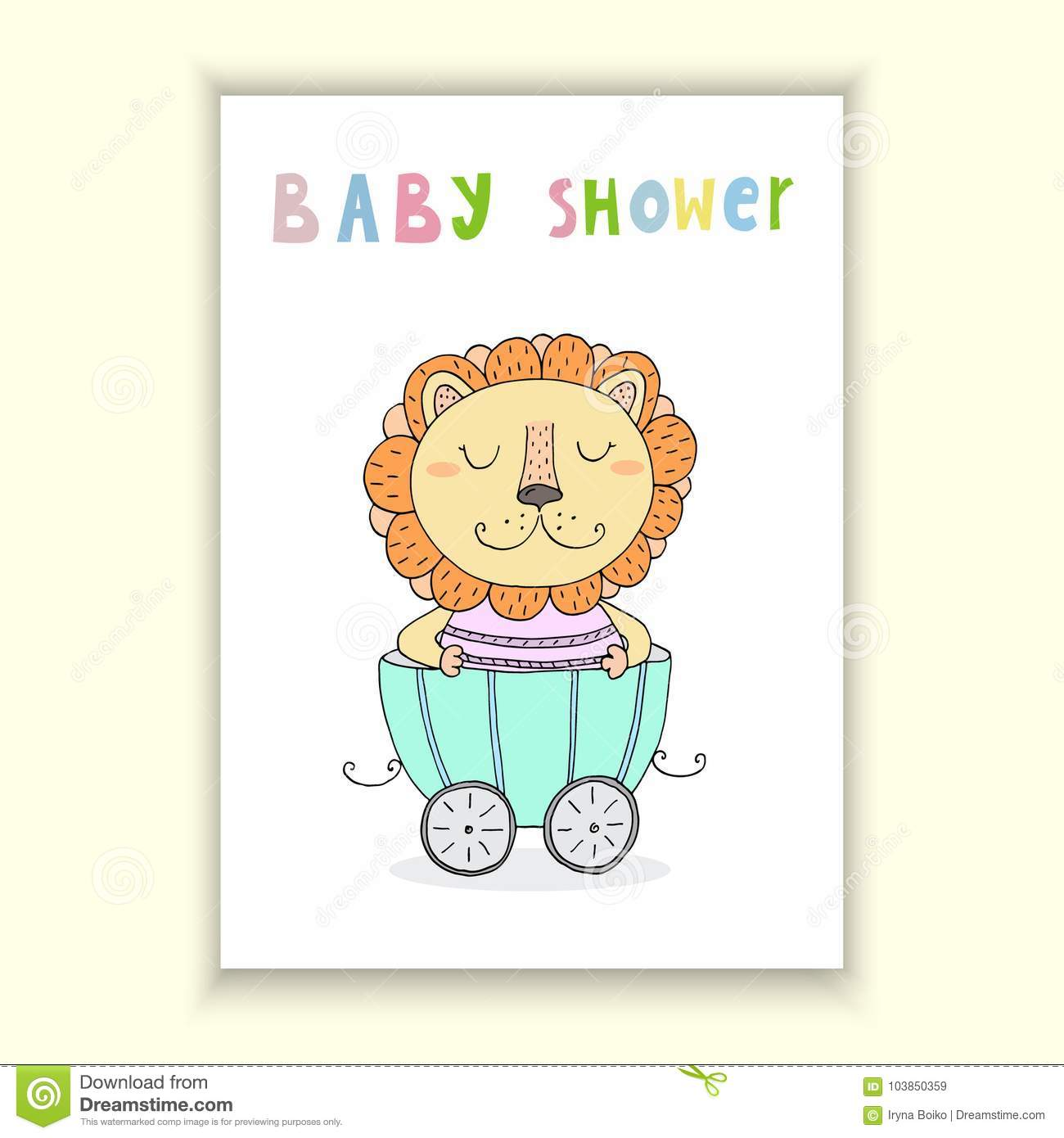 photograph about Baby Shower Cards Printable known as Kid Shower Card Style and design. Adorable Hand Drawn Card With Lion Within just