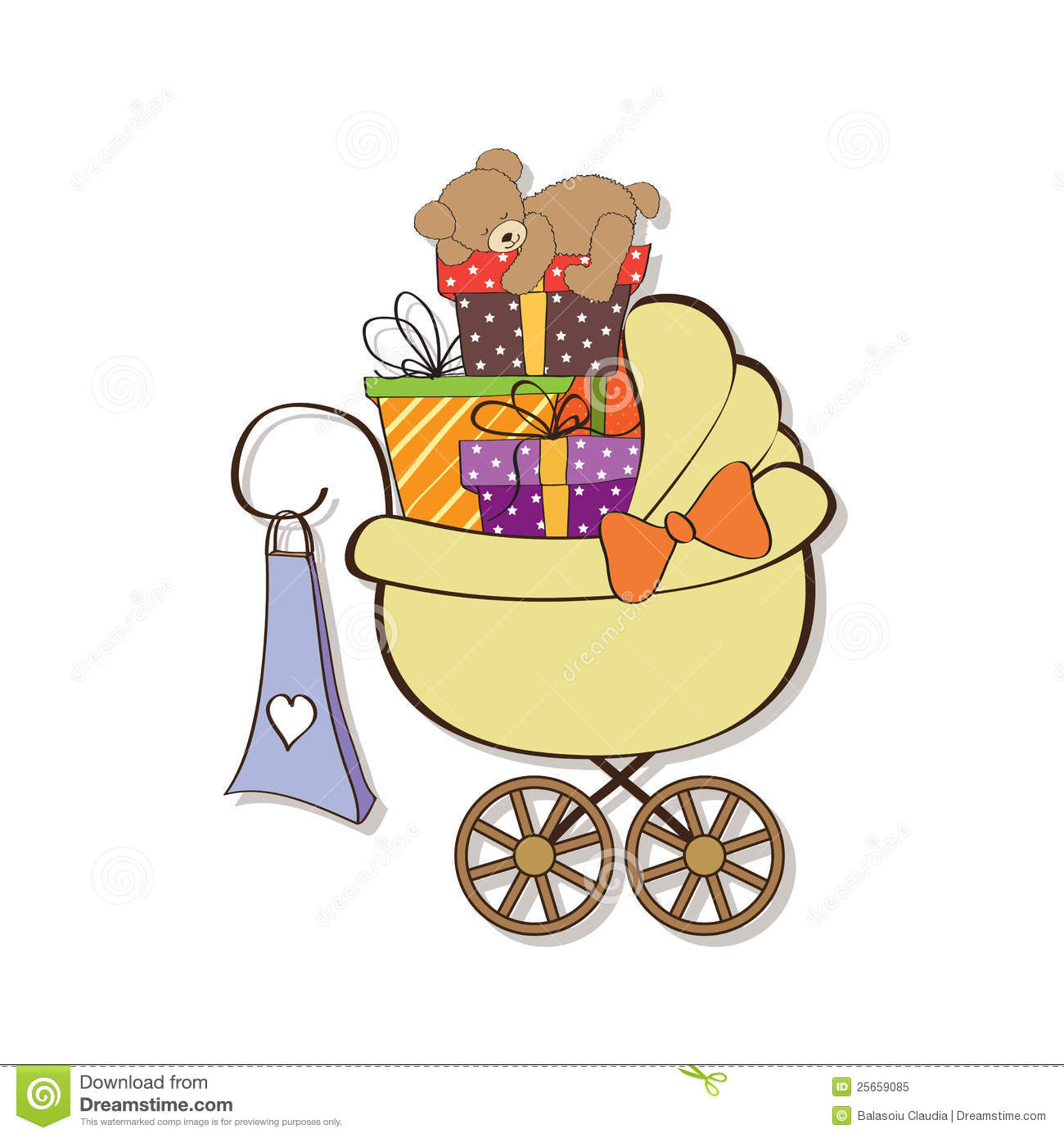 Baby Shower Card With Gift Boxes Stock Vector Illustration Of