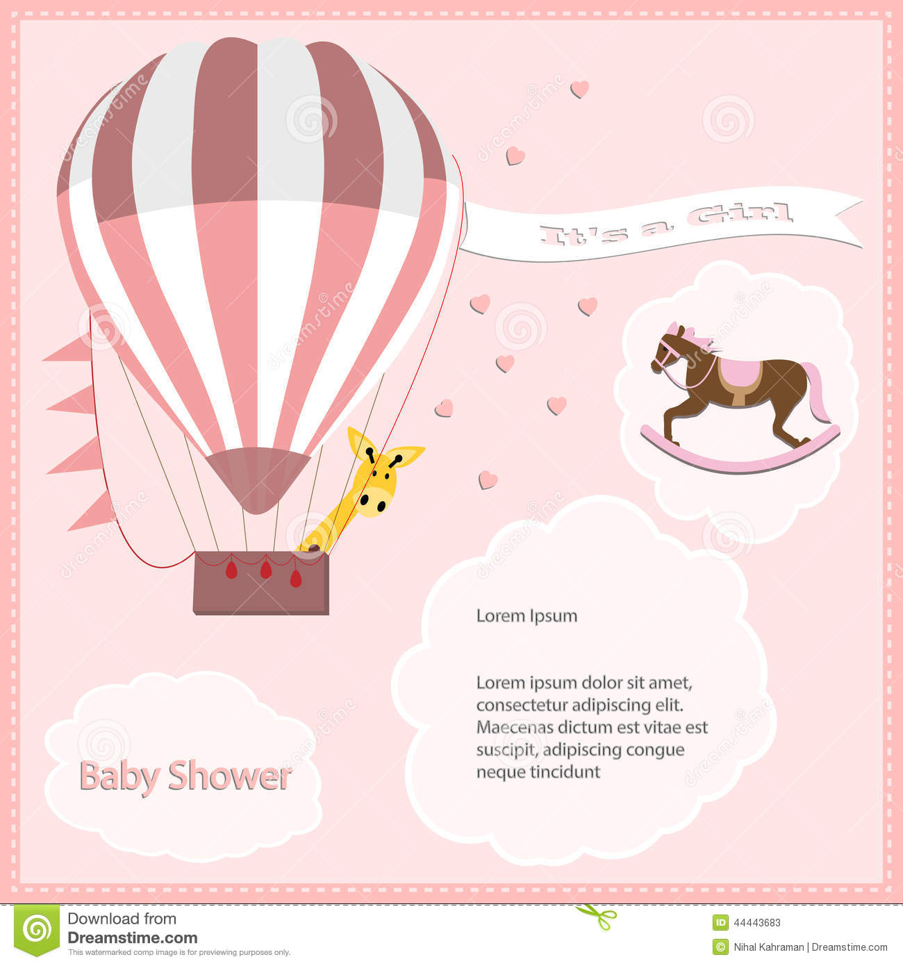 Baby Shower Card Girl,air Balloon With Rocking Horse Stock ...