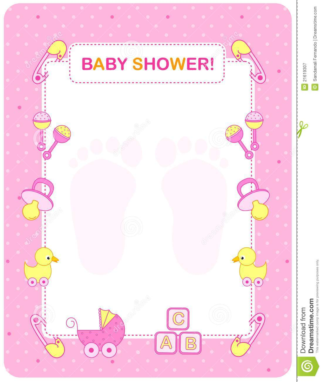Baby Shower Card For Girls Royalty Free Stock Photography - Image: 21619307
