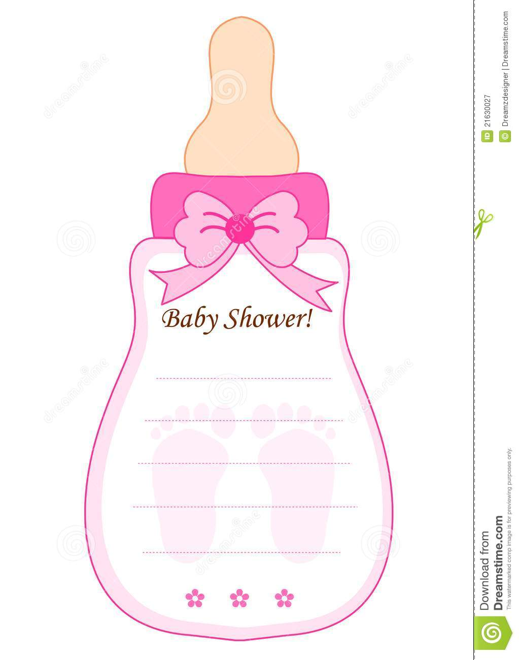 Baby Shower Card For Girls Royalty Free Stock Photography - Image