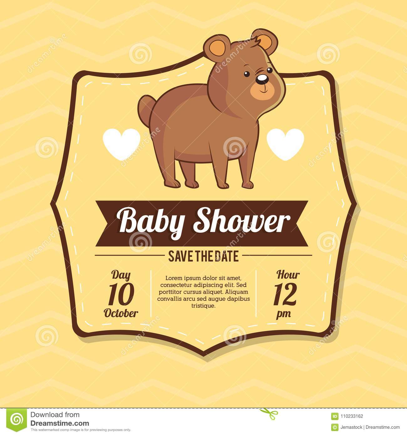 Baby Shower Card Invitation Save The Date With Bear Cute Stock