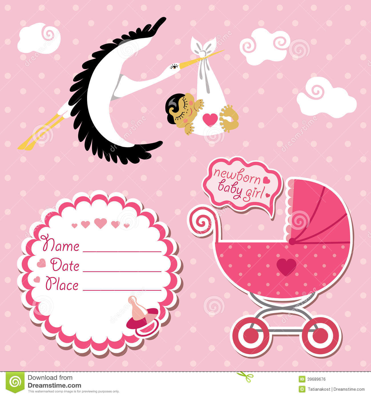 Stork flying with Asian newborn baby girl.Baby shower card,invitation ...