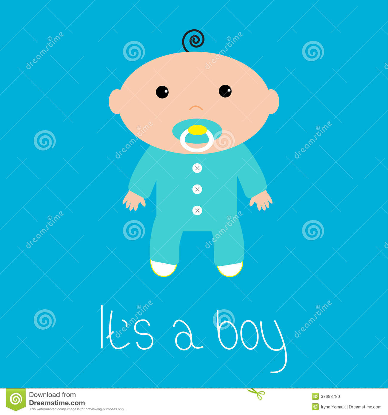 Baby Shower Card Its A Boy Flat Design Style Stock