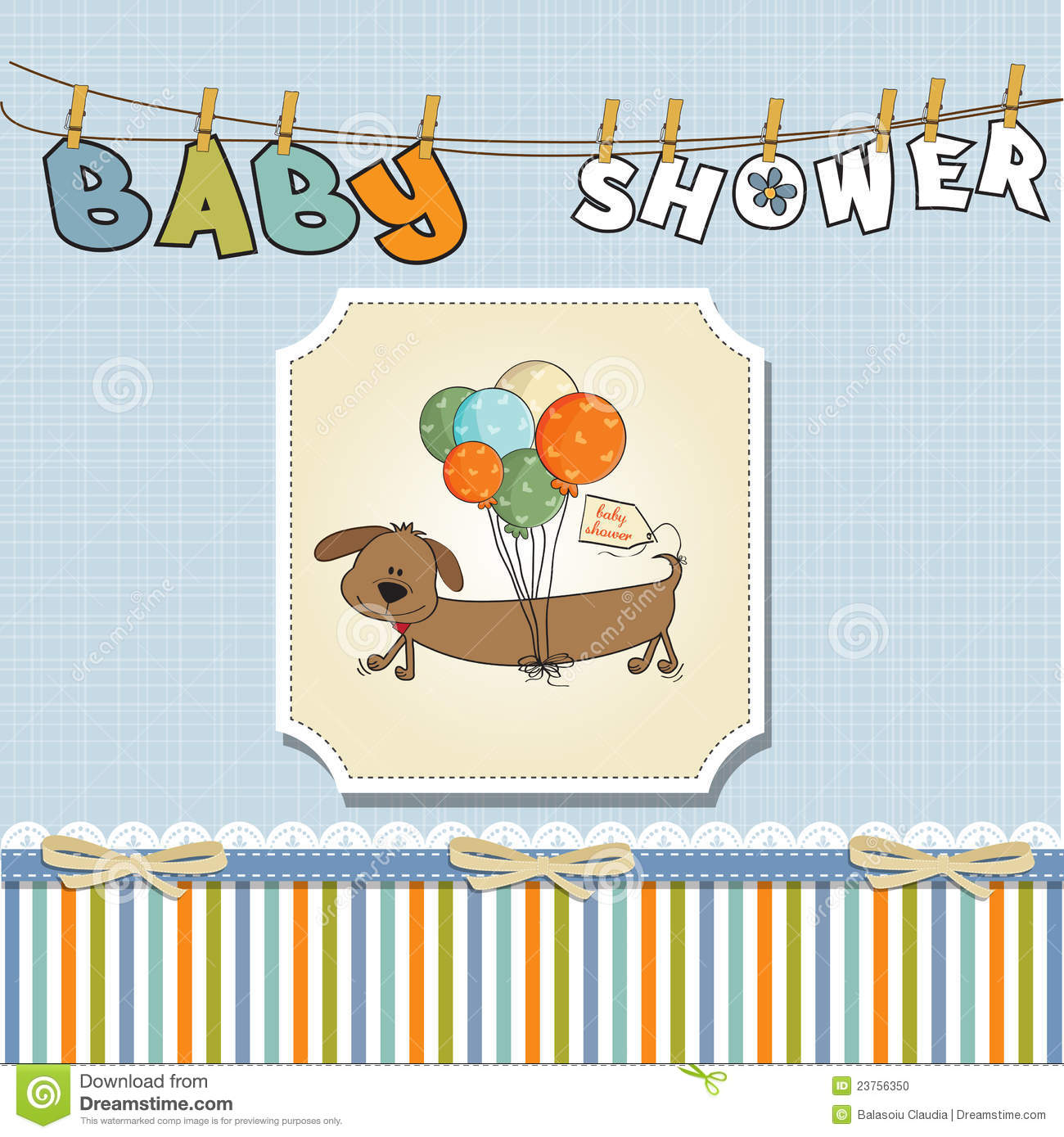 baby shower card with long dog stock photo image 23756350