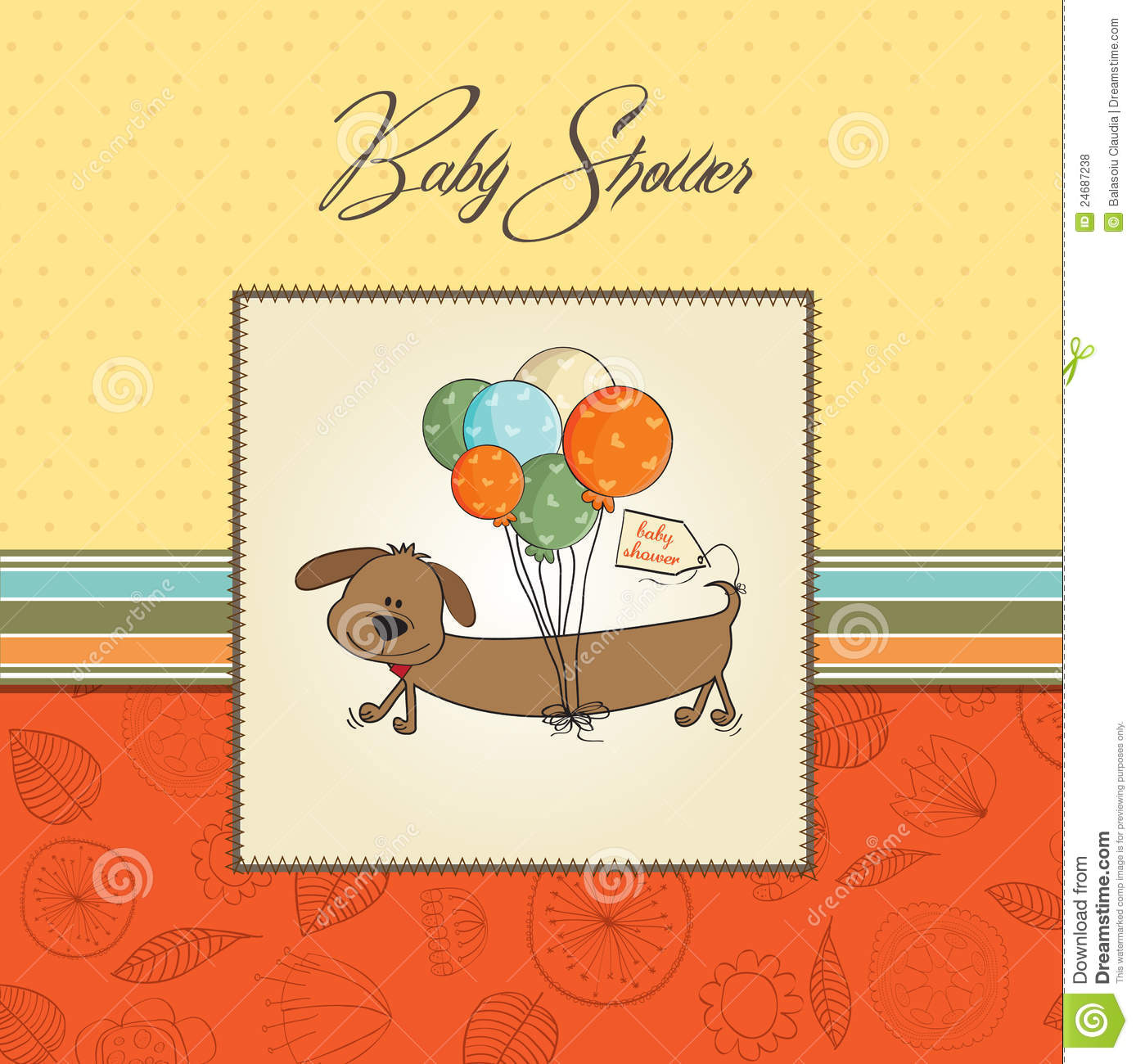 baby shower card with long dog and balloons dog breeds picture
