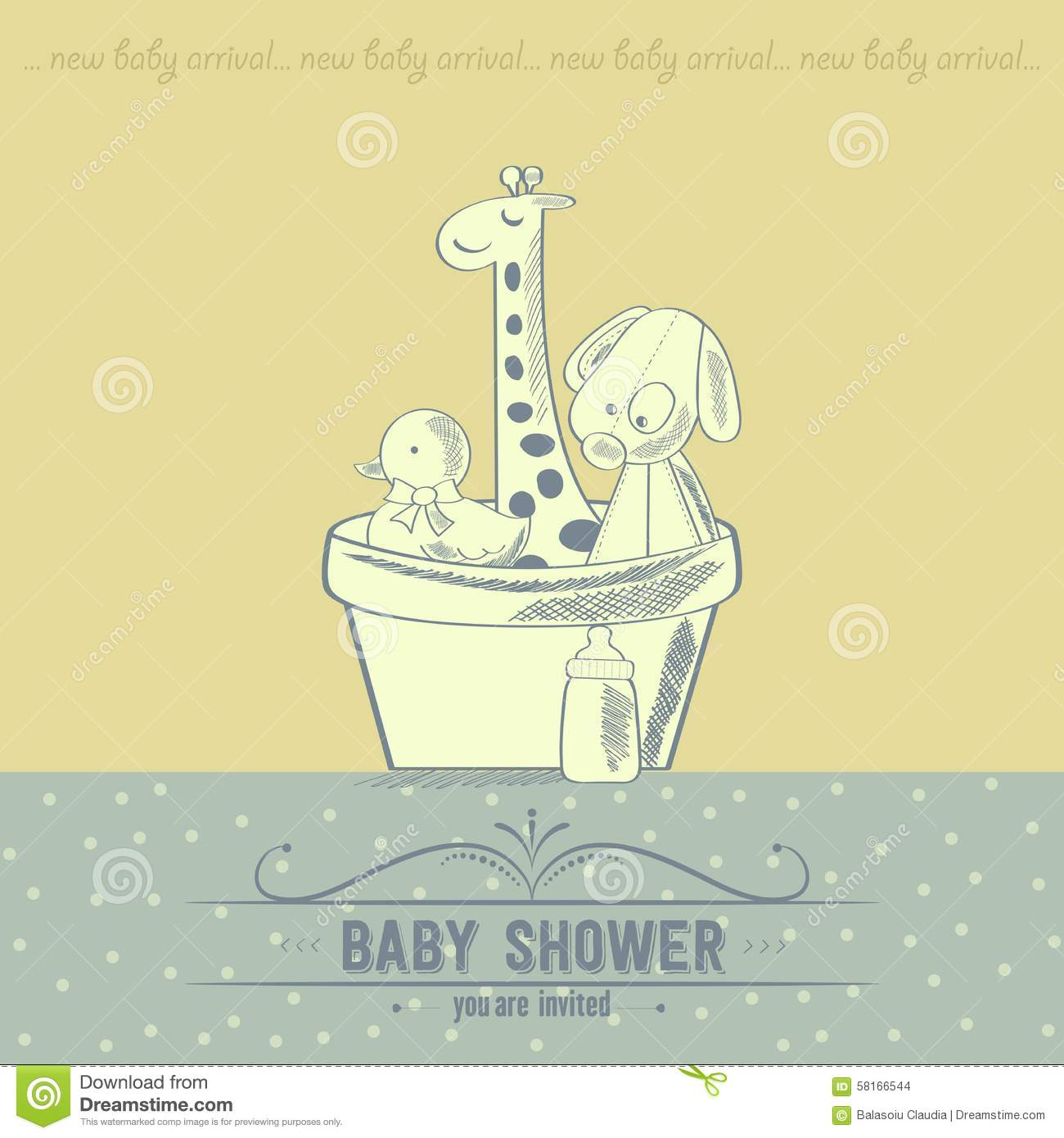 Baby Shower Card With Retro Toys Stock Vector Illustration Of Draw