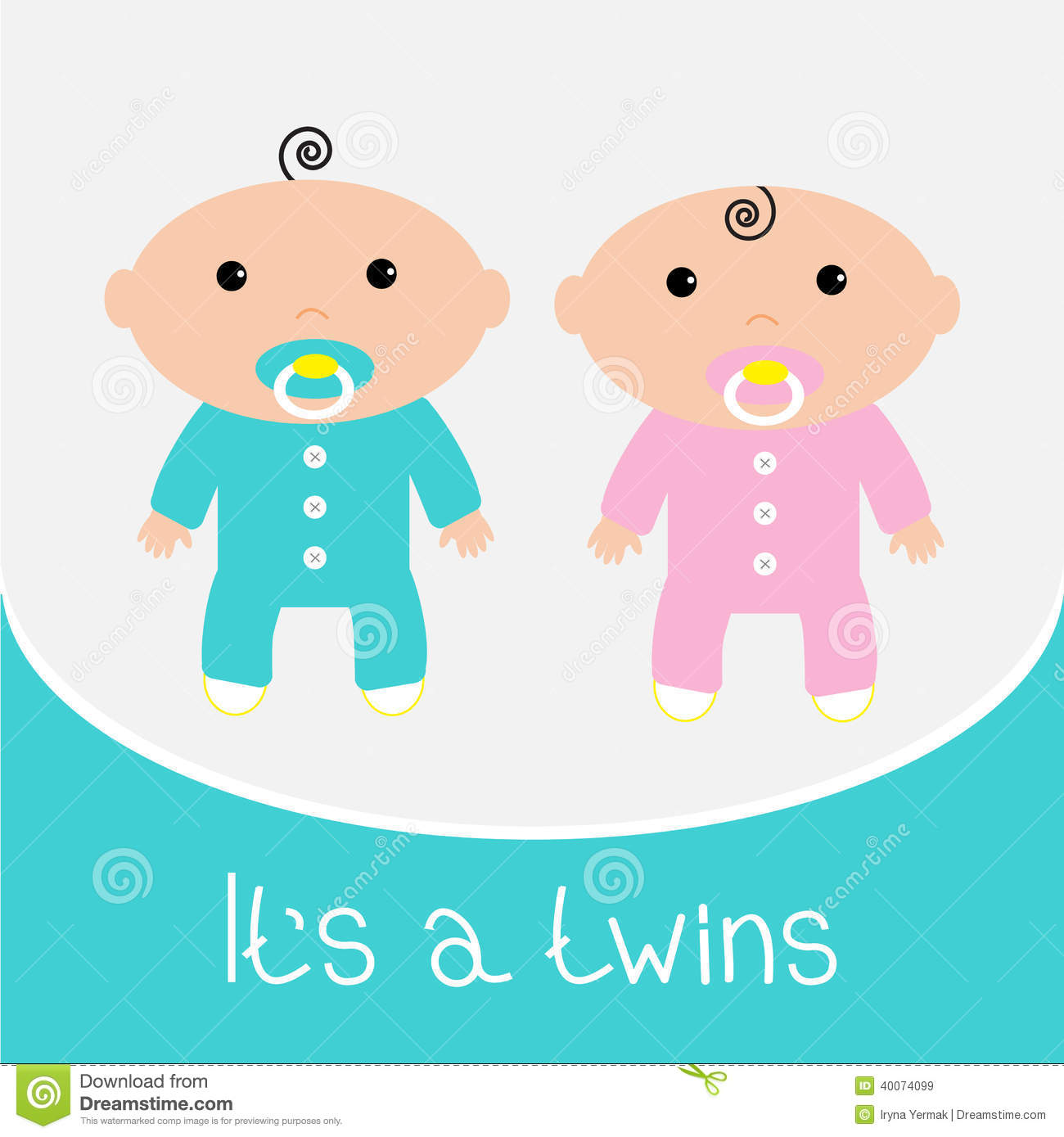 baby shower card. it's a twins boy and girl. stock vector  image, Baby shower invitation