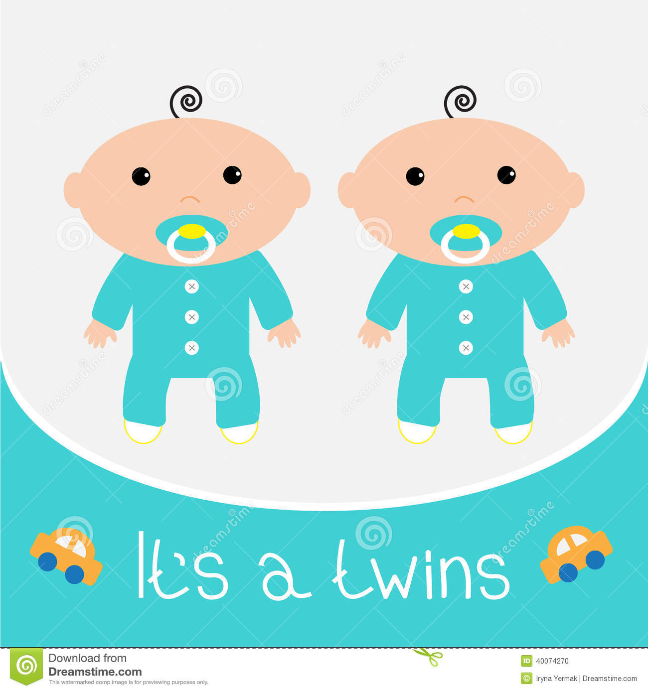 Baby Shower Card. It's A Twins Boys. Stock Vector - Image: 40074270