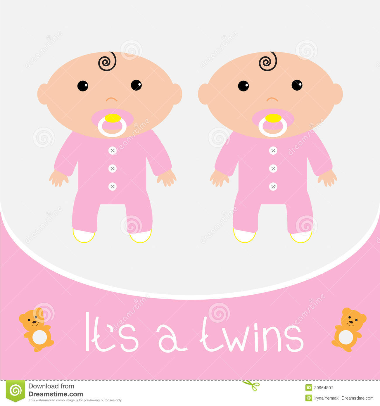 Baby Card Illustration Shower Decoration Pink Twin ...