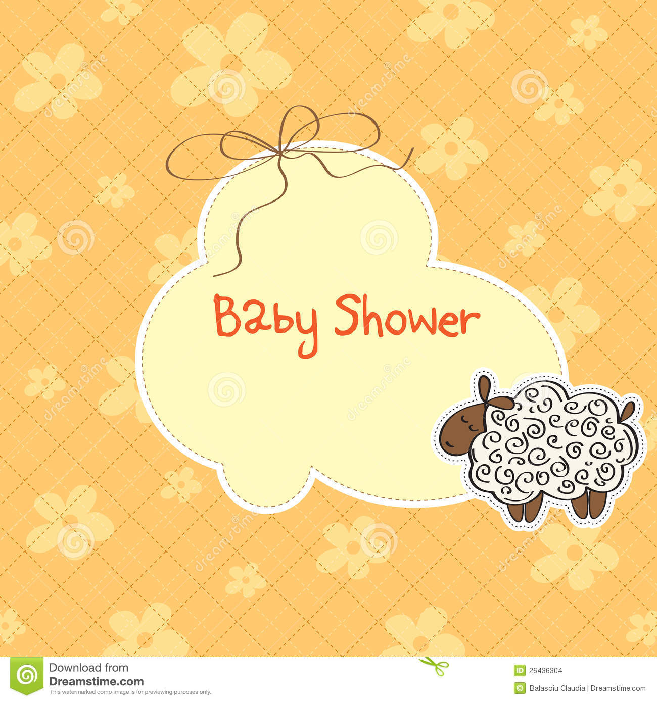baby shower card with sheep stock images image 26436304