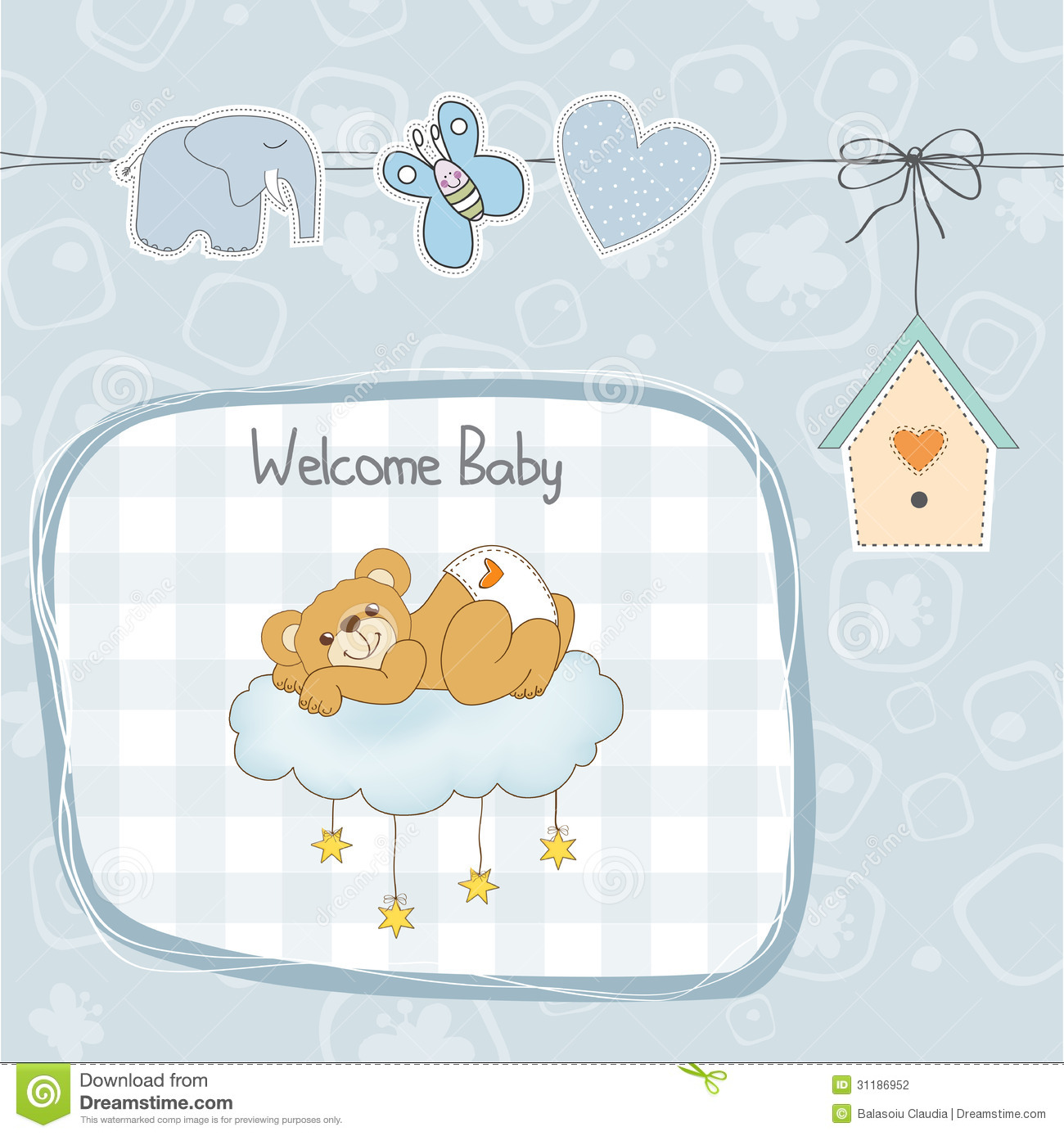 Baby Shower Card With Sleepy Teddy Bear Stock Vector - Illustration of concept, hanging: 31186952