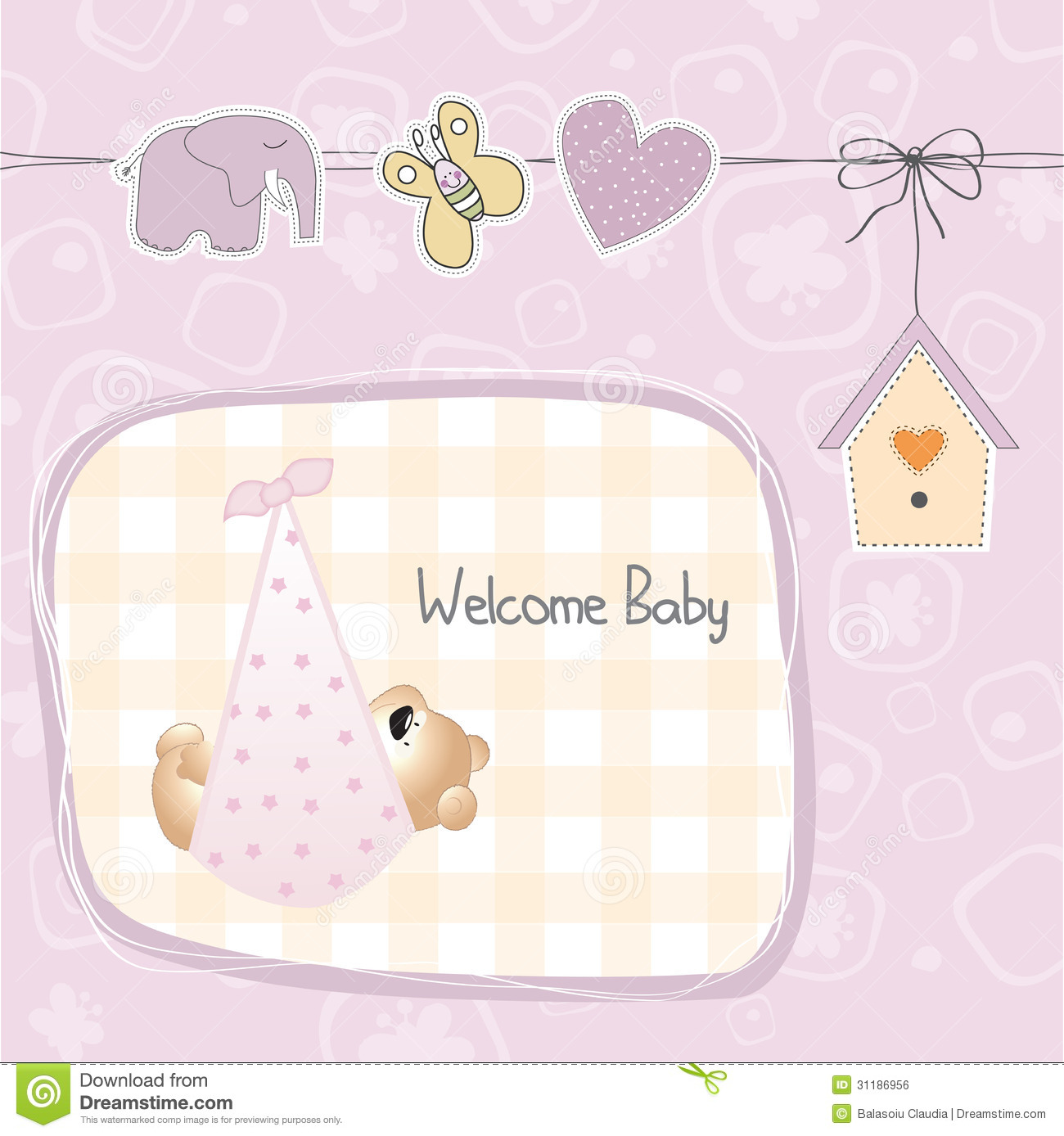 Baby Gift Vector : Baby shower card with teddy bear toy stock vector image