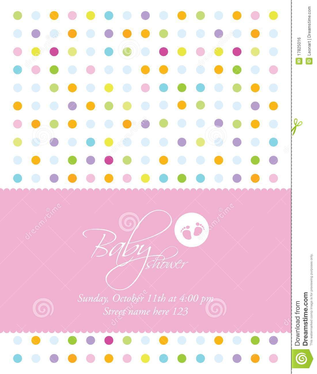 Baby Shower Card Template Royalty Free Stock Image - Image: 17825016