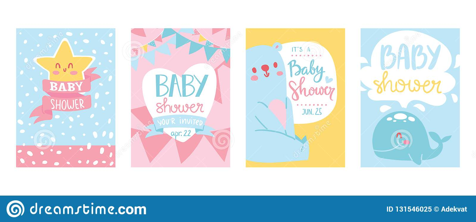 Baby shower cards vector illustration set. Cute invitation cards for newborn boy and girl party. Invitation greeting for