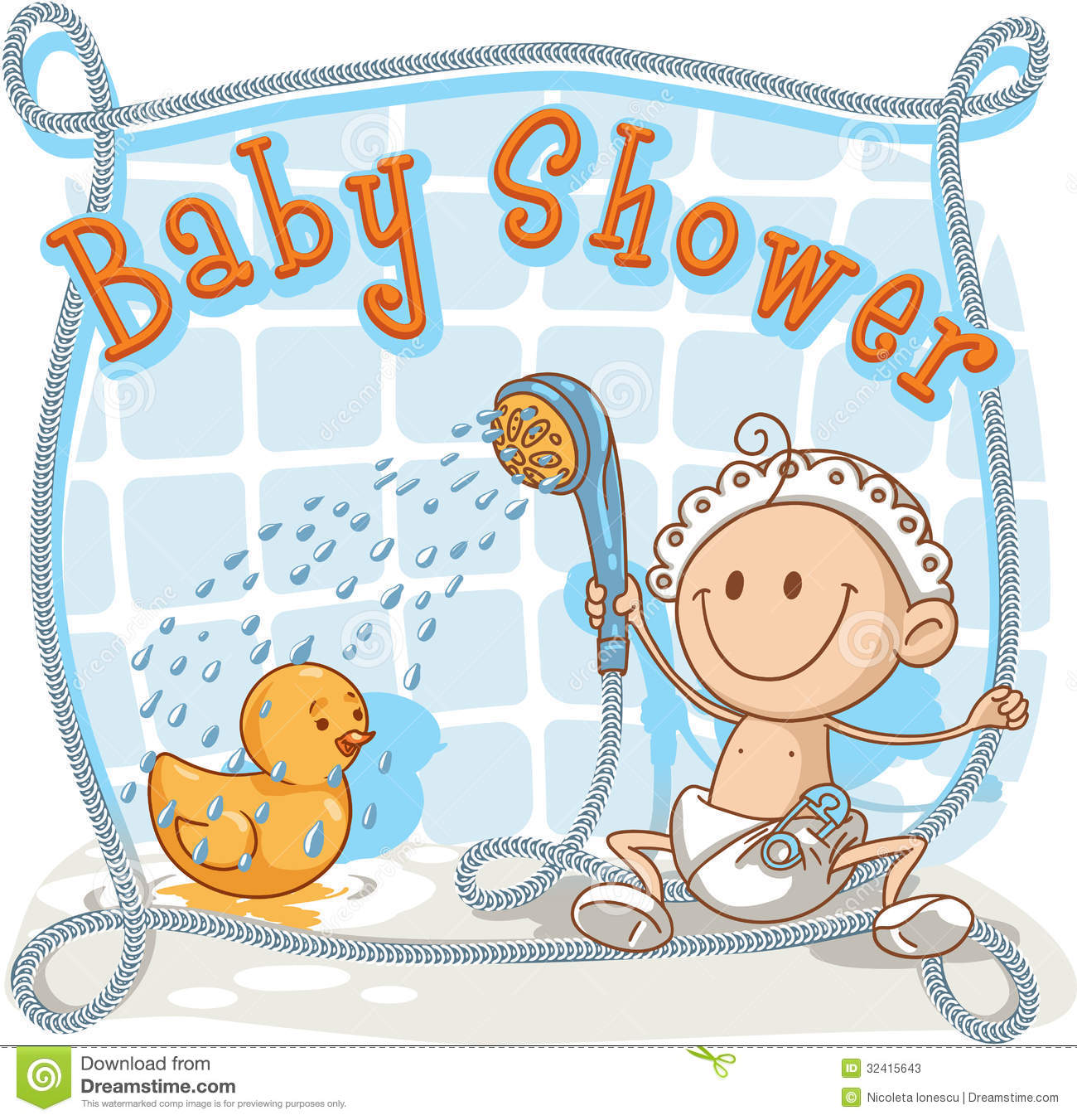 baby shower cartoon invitation vector showering his rubber ducky ai