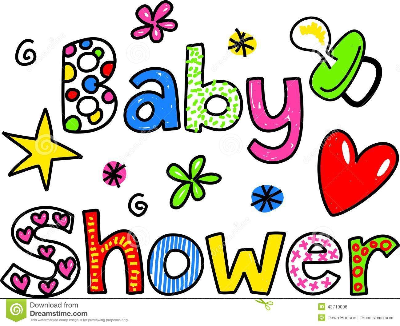 Baby Shower Cartoon Text Clipart Stock Illustration - Image: 43719006