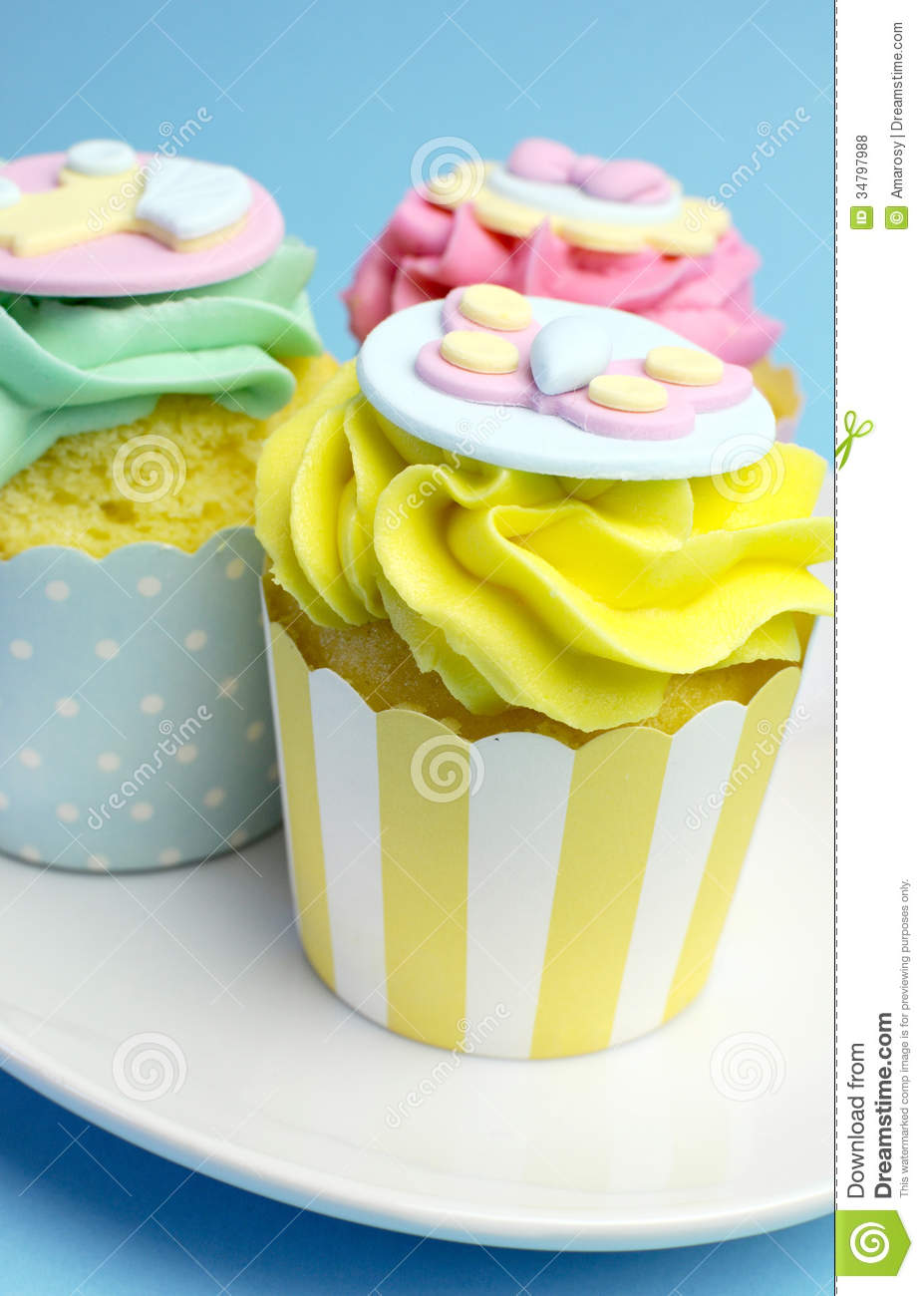 Baby Shower Or Childrens Pink Aqua Yellow Cupcakes Close Up