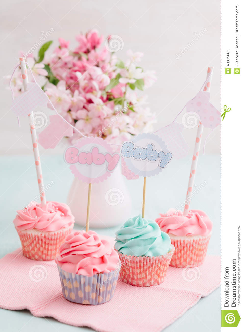 baby shower cupcakes stock photo image 49335661