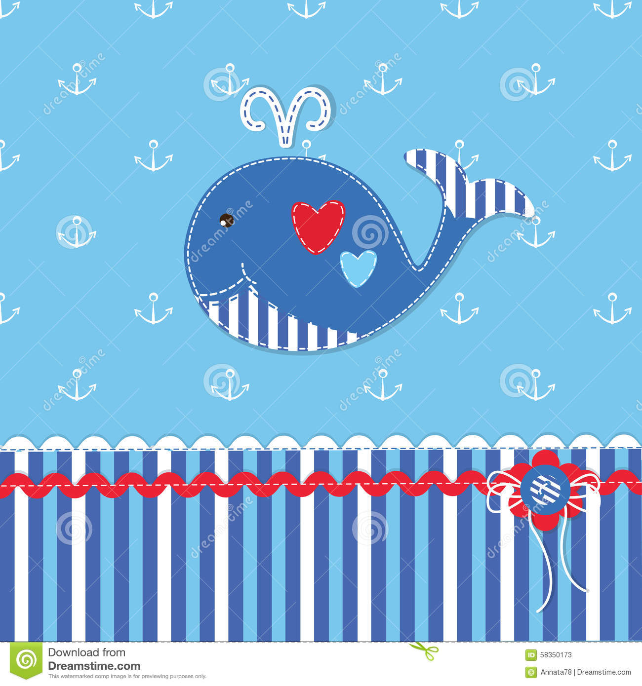 Baby Shower With Cute Whale Stock Vector - Illustration of ...
