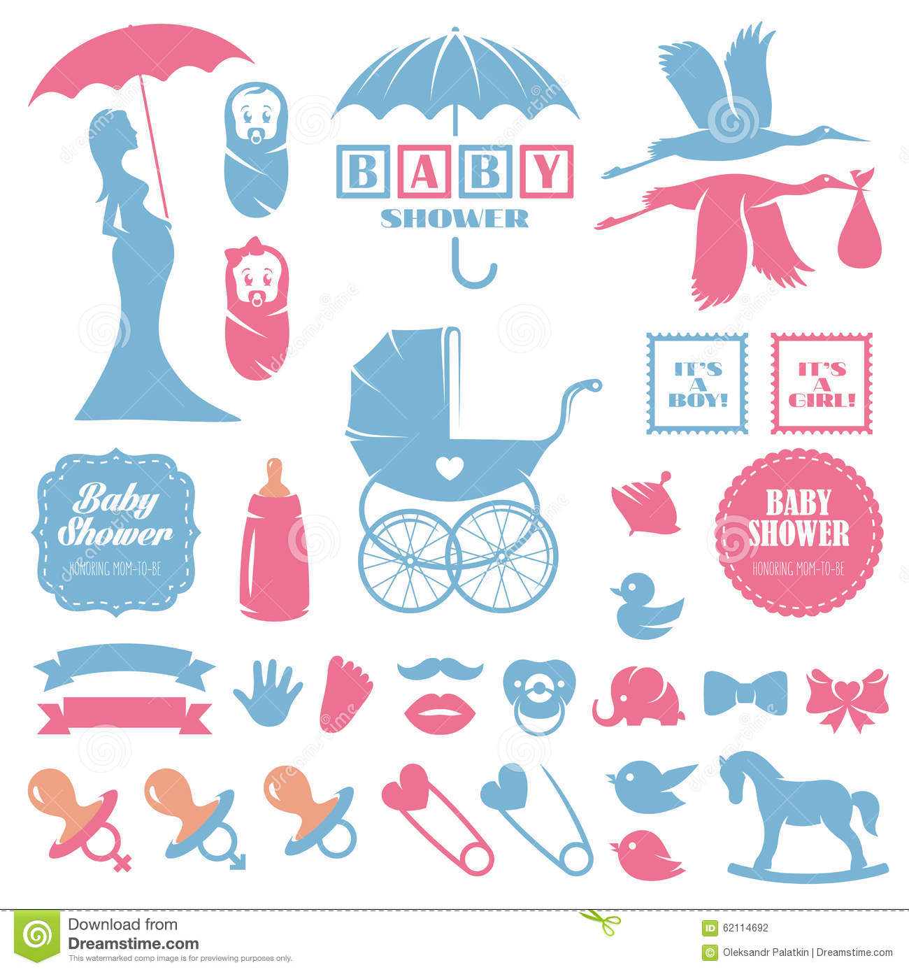 Baby Shower Design Elements Vector Set. Pregnancy Stock ...