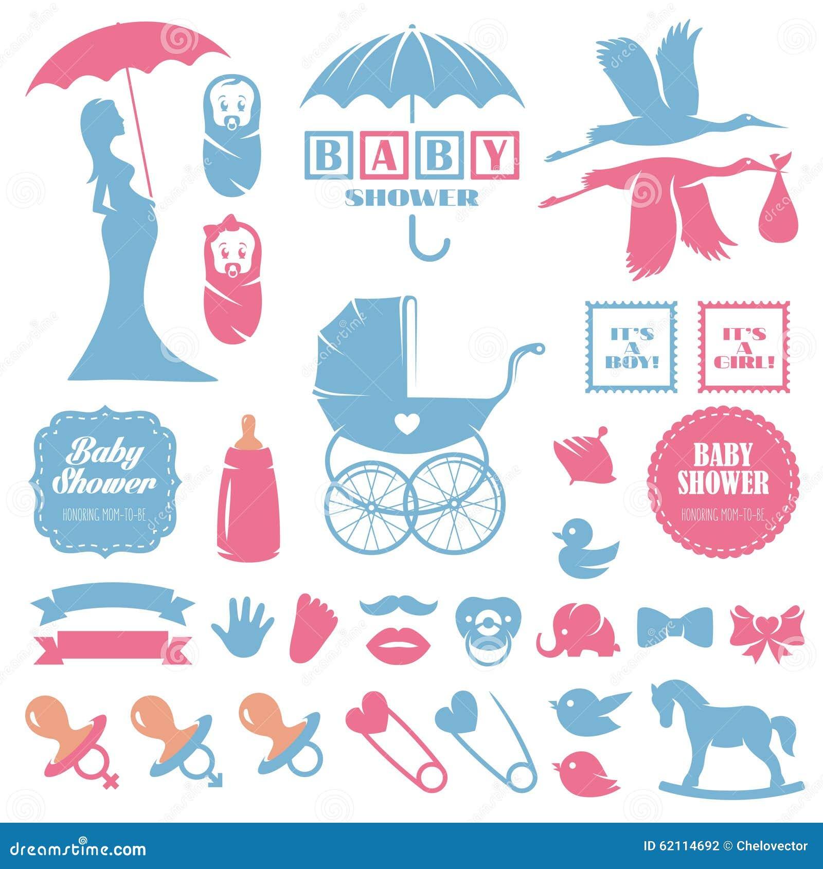 Baby Shower Design Elements Vector Set. Pregnancy Stock
