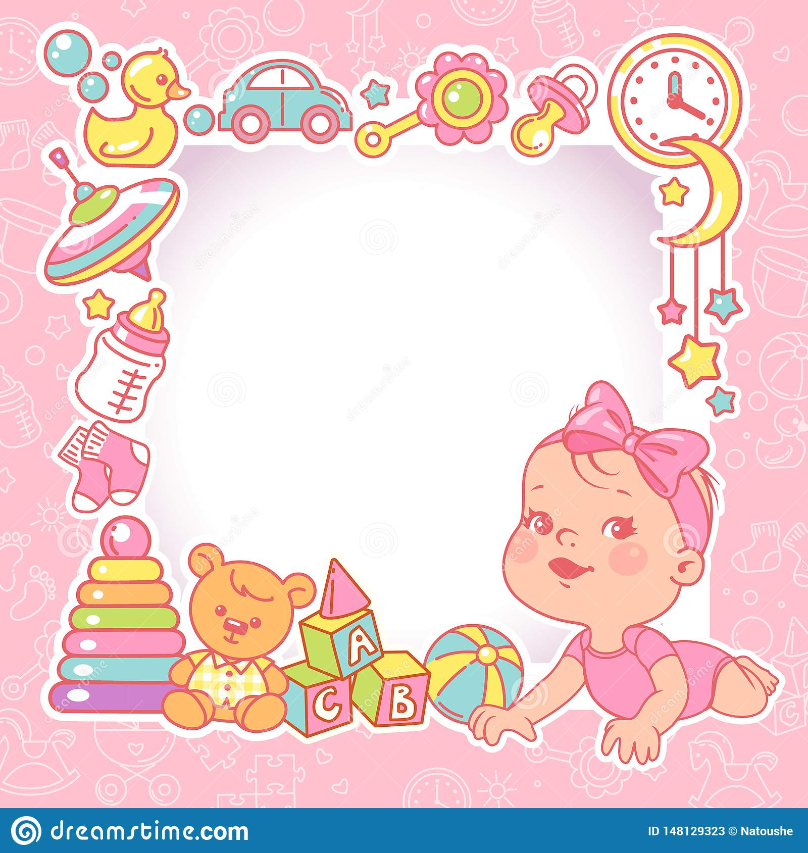 Baby Shower Design Template. Baby Girl With Toy Frame. Stock