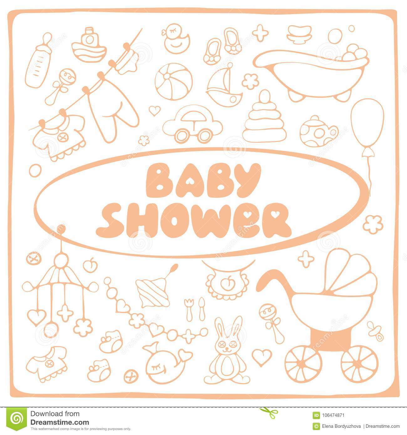 Baby shower elements card stock vector illustration of card 106474871 download baby shower elements card stock vector illustration of card 106474871 stopboris Image collections