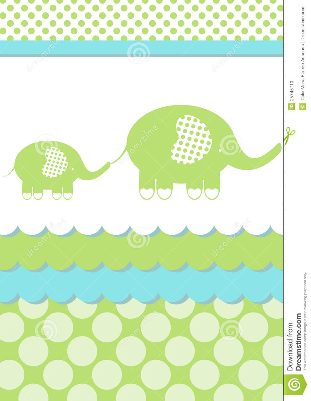 baby shower elephant invitation card stock illustration