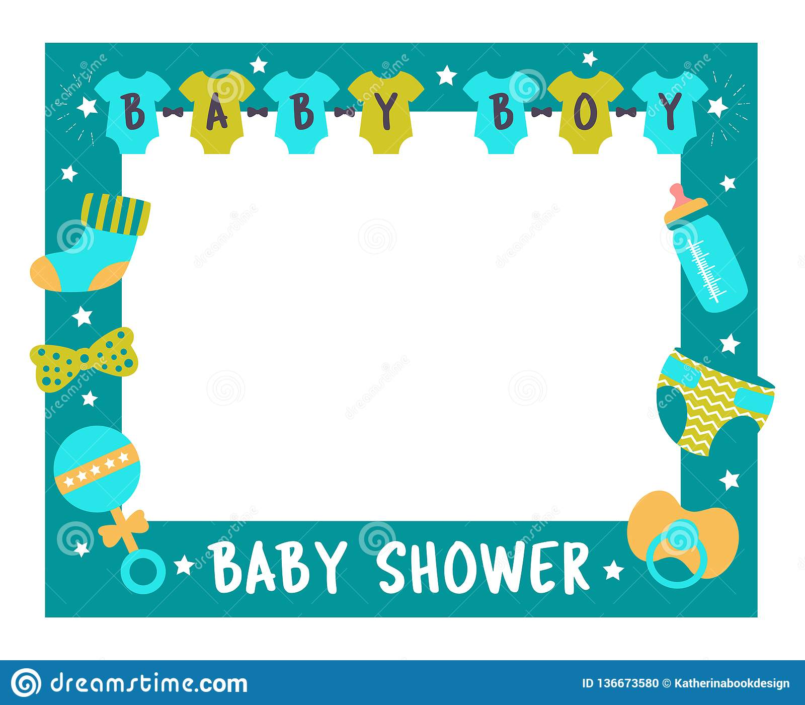 Baby Shower Frame Boy Photo Booth Props Stock Vector Illustration