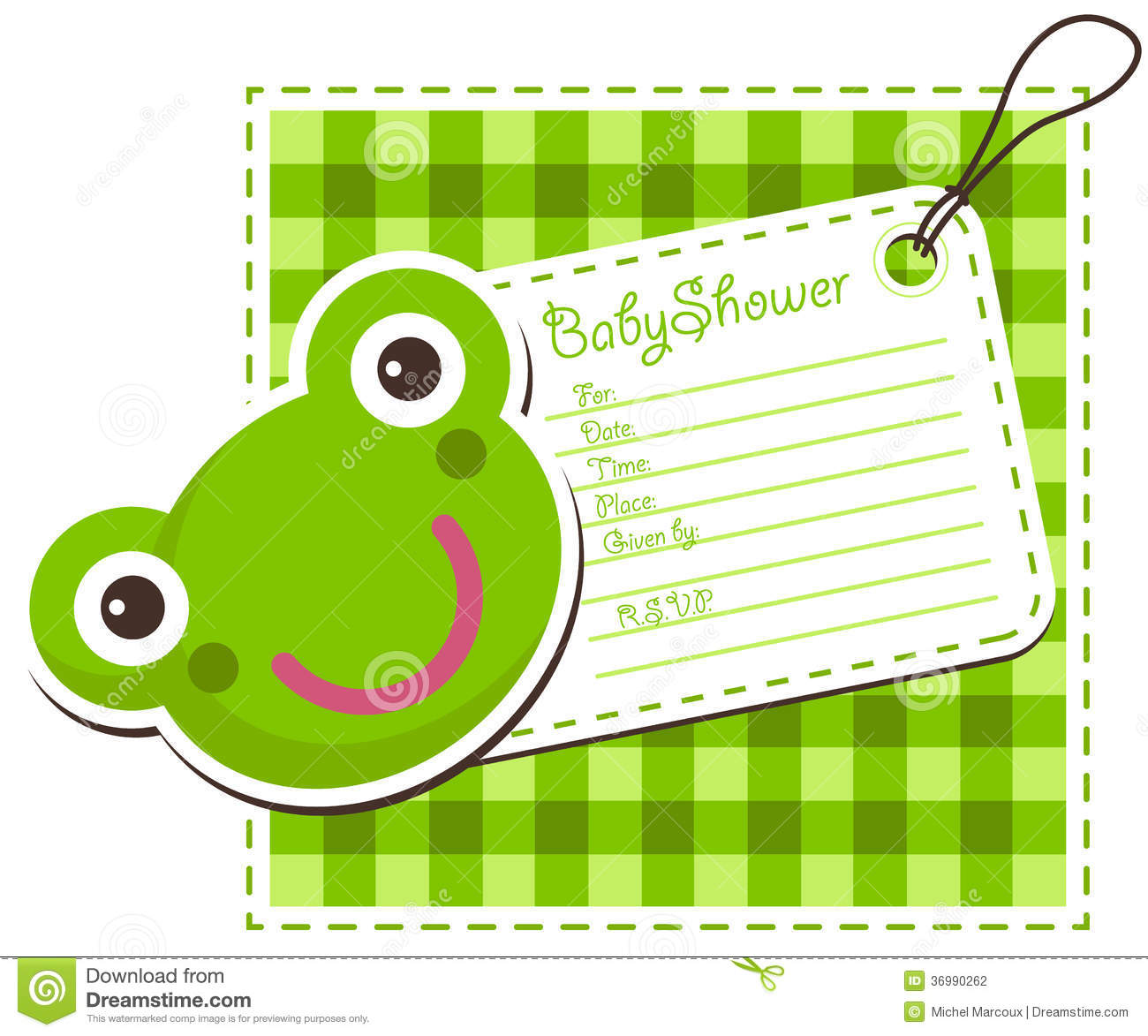 baby shower frog invitation card stock photography  image, Baby shower