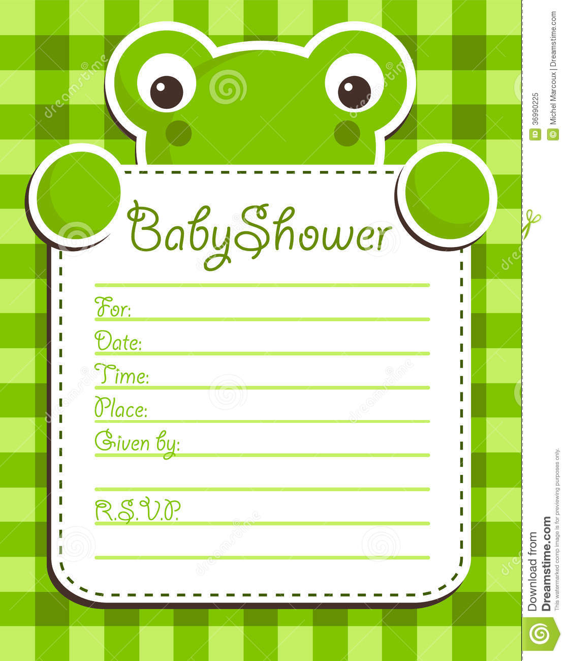 Baby Shower Frog Invitation Card Stock Vector - Image ...