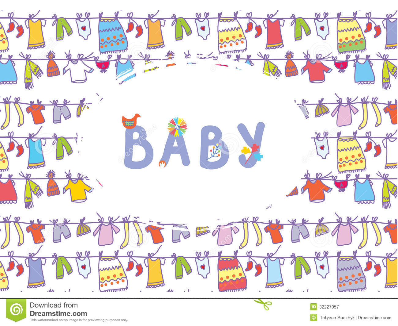 Baby shower funny card with laundry