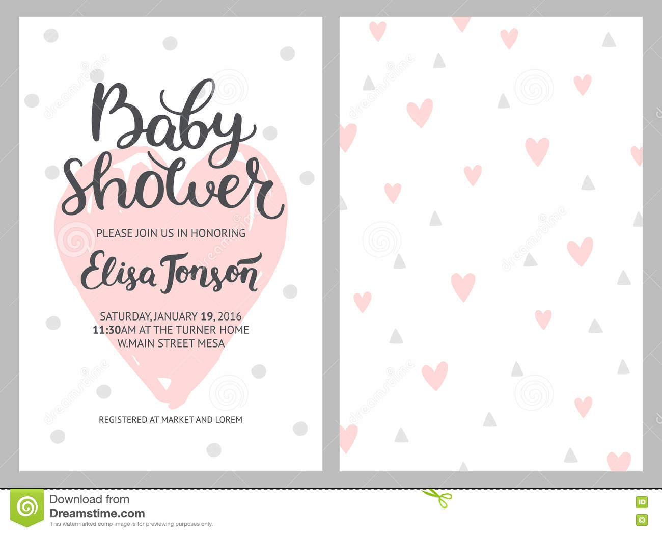 baby shower girl and boy invitations vector templates stock vector image 74941294. Black Bedroom Furniture Sets. Home Design Ideas