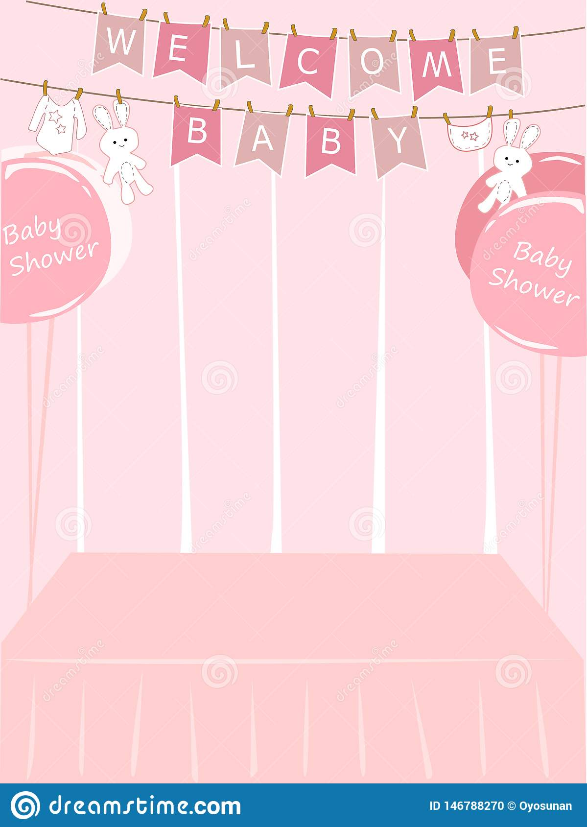 Baby Shower Girl Card Vector Stock Illustration Illustration Of Daughter Newborn 146788270
