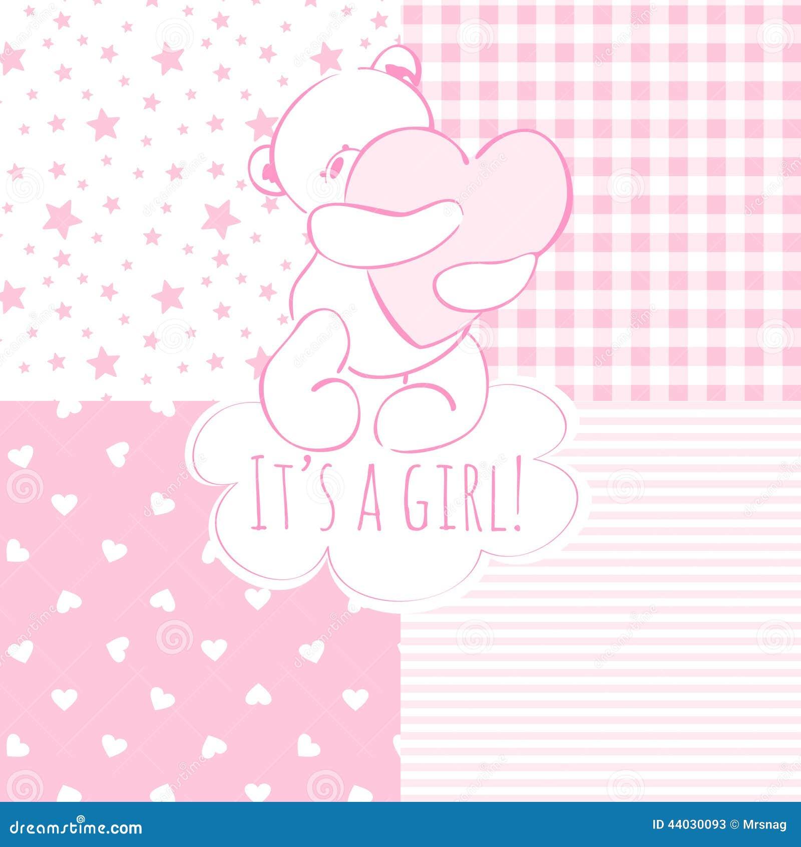 Baby Shower: Girl. Stock Vector - Image: 44030093