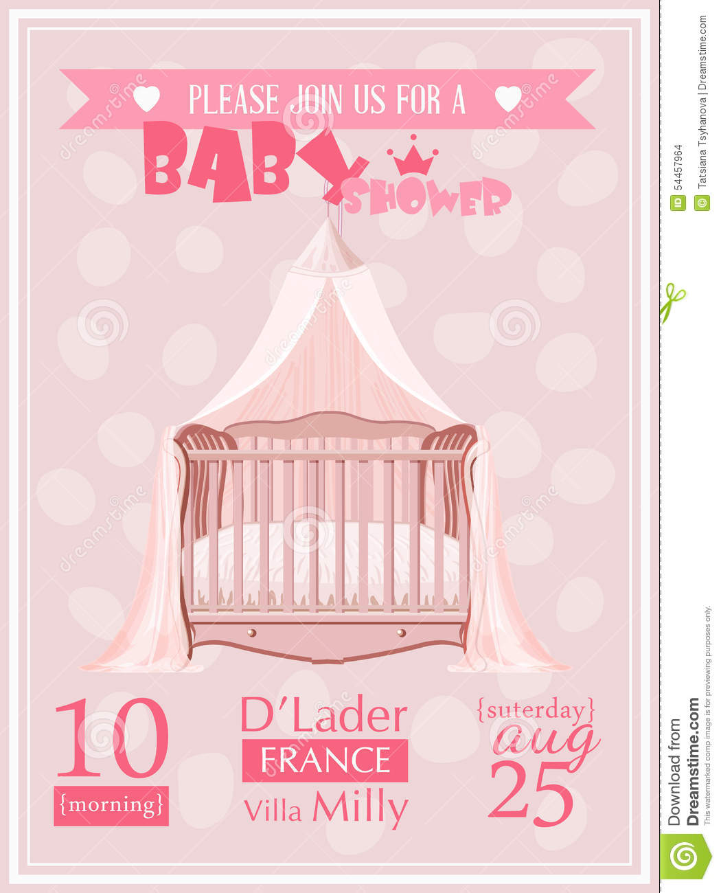 Baby shower girl invitation template vector illustration with pink baby shower girl invitation template vector illustration with pink crib illustration 54457964 megapixl stopboris Image collections