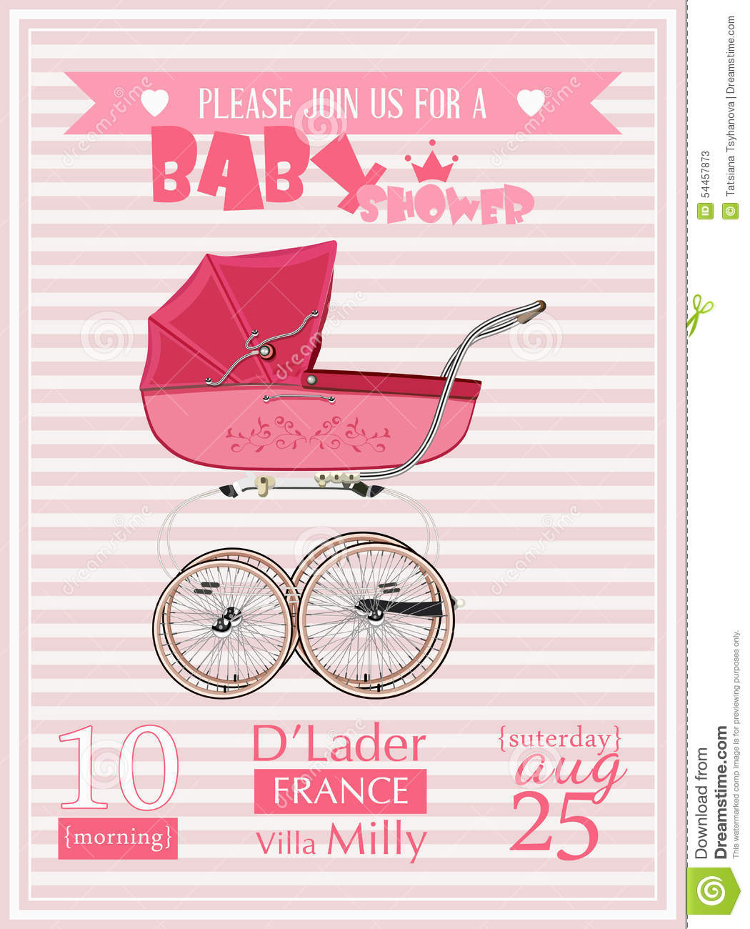Baby Shower Girl Invitation Template Vector Illustration With ...