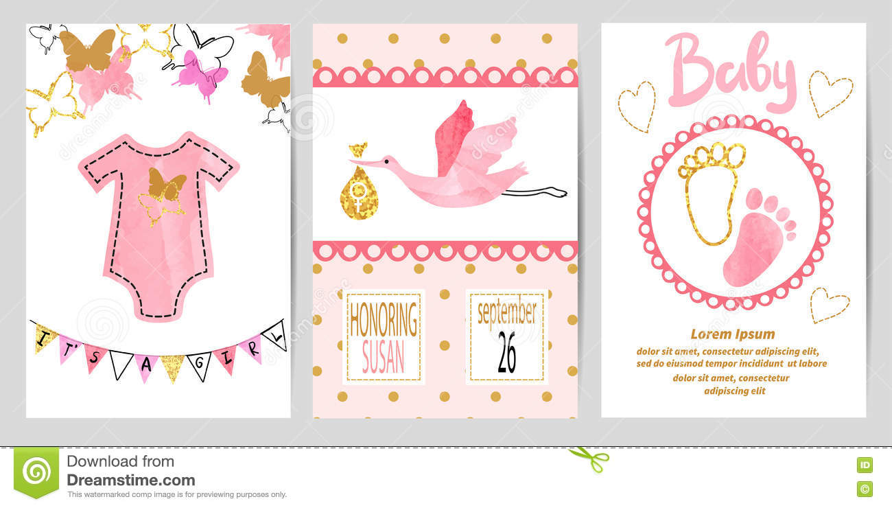 baby shower girl set  vector invitation cards stock vector